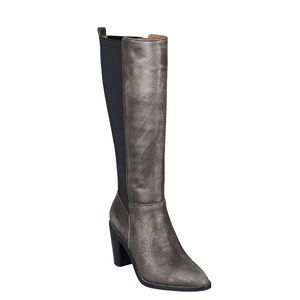 Gunmetal Genuine Leather Elastic Shaft Tall Boots